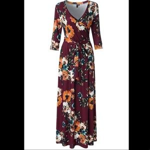 3/4 Sleeve Floral Print Maxi Dress with Belt